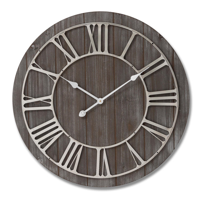 Wooden Clock with Nickle Detail