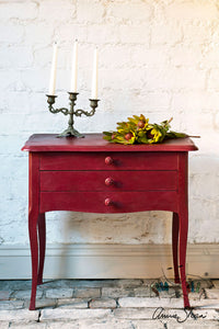 Annie Sloan Chalk Paint™ Burgundy Side Table staged