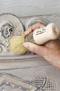 Annie Sloan Chalk Paint™ Clear Wax brushing on trim
