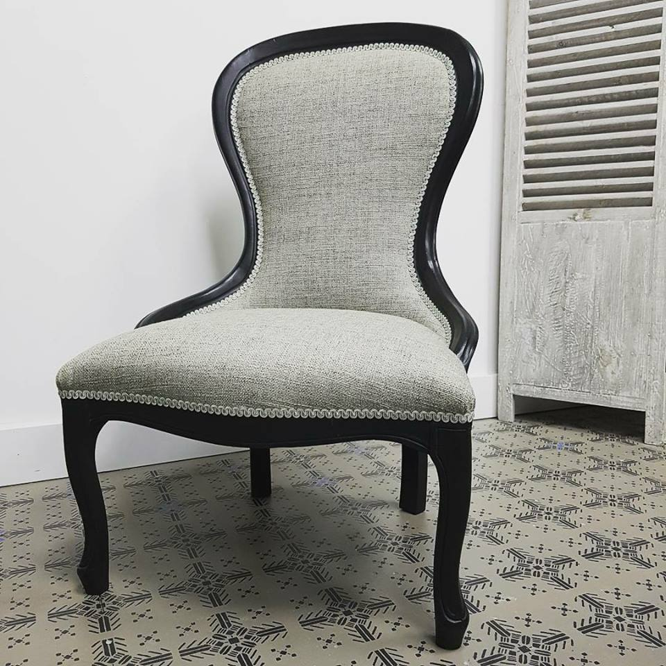 Occasional Bedroom Chair Annie Sloan Graphite and Clear Wax. Fully reupholstered.