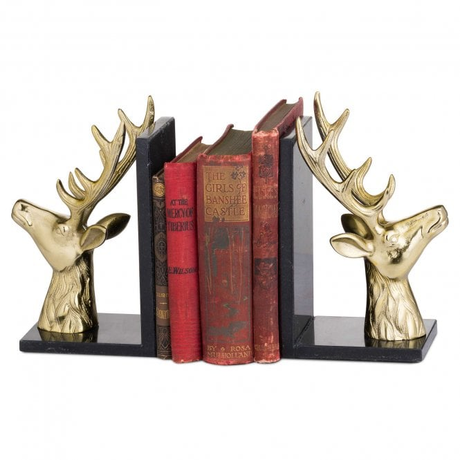 Brass Stag Marble Bookends