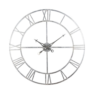 Large Silver Foil Skeleton Wall Clock