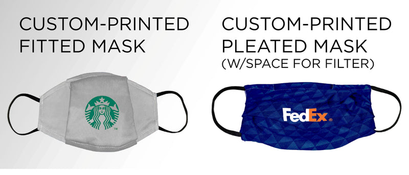 Custom Face Masks with Logo-Fitted or Pleated-120 (40x Pack of 3)