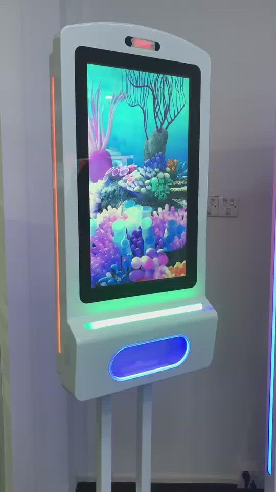 Digital Hand Sanitizer Kiosk with LCD Display, Camera and Floorstand