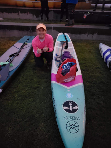 Kay Pyne at Chattajack 2018 - second place female in women's open stand up paddleboard race
