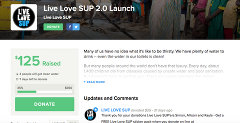 Donate now to Live Love SUP Charity Water Current Project