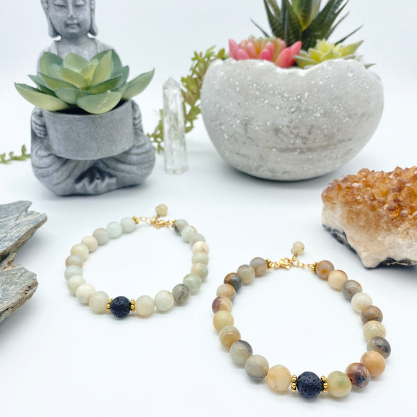 Warm Courageous Self Amazonite Gemstone Diffuser Bracelet Handmade by Vīb and Sol Designs