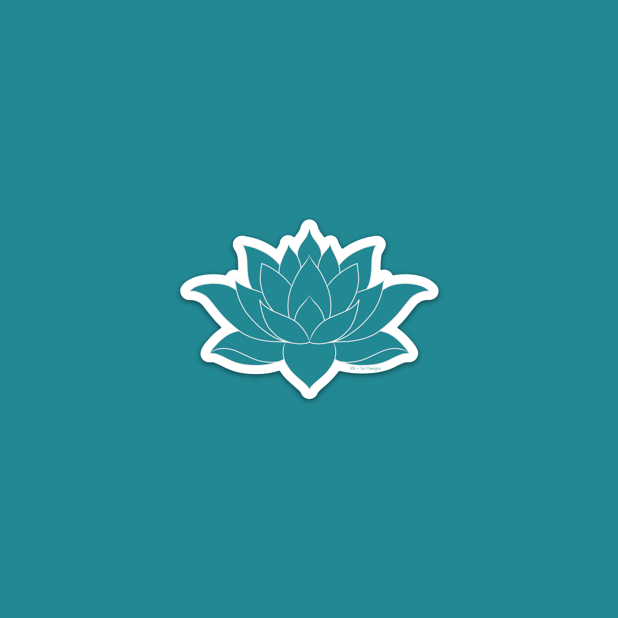 Vīb and Sol Designs Teal Lotus Vinyl Sticker