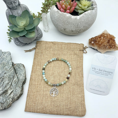 Blue Courageous Self Amazonite Gemstone Bracelets with Tree of Life Charm by Vib and Sol Designs