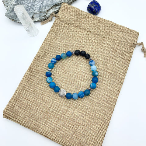 Confident Communication Blue Agate Gemstone Bracelet
