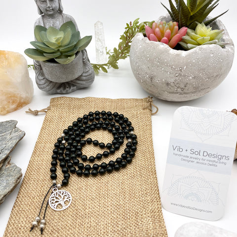 Abundant Healing Green Goldstone Gemstone Mala Necklace with Tree of Life Pendant handmade by Vib and Sol Designs
