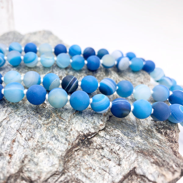 Confident Communication Blue Agate Gemstone Mala Necklace with Blue Tassel