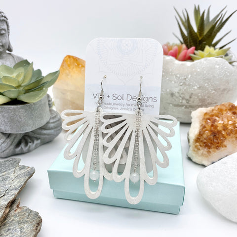 Vib and Sol Designs Cleansing Calm White Quartz Hand-Painted Earrings