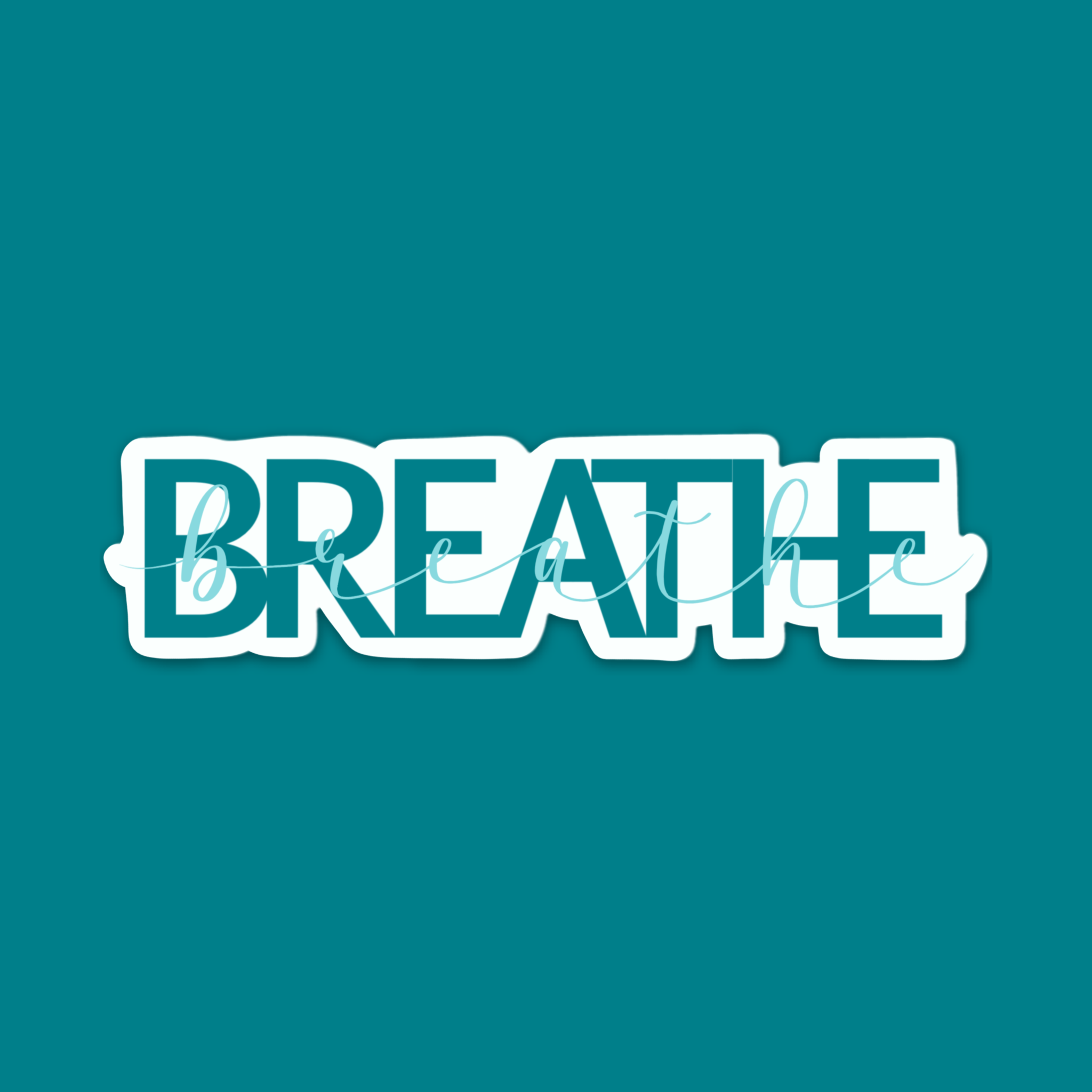 Teal Breathe Text Vinyl Sticker By Vib and Sol Designs