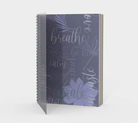 Vib and Sol Designs Mindful Words Spiral Journal with Protected Cover front