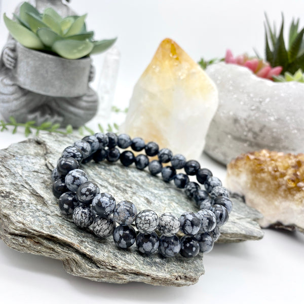 Vib and Sol Designs Pure Healing Snowflake Jasper Gemstone Bracelet 8mm