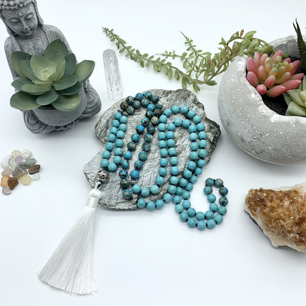 Peace Protection Turquoise Howlite and Jasper Gemstones Mala Necklace with White Tassel