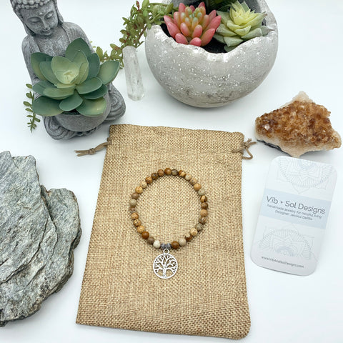 Connecting Harmony Picture Jasper Gemstone Bracelets with Tree of Life Charm by Vib and Sol Designs