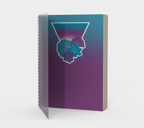 Teal + Purple Floral Triangle Spiral Journal with Protected Cover by Vib and Sol Designs
