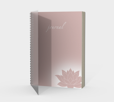 Vib and Sol Designs Pink Lotus Spiral Journal with Protected Cover Front