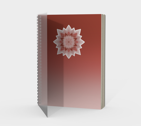 Vib and Sol Designs Red Mandala Spiral Mindfulness Journal with Protected Cover Front