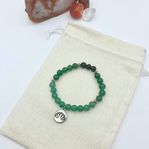 Peaceful Self Green Aventurine Gemstone Bracelet with Lotus Charm
