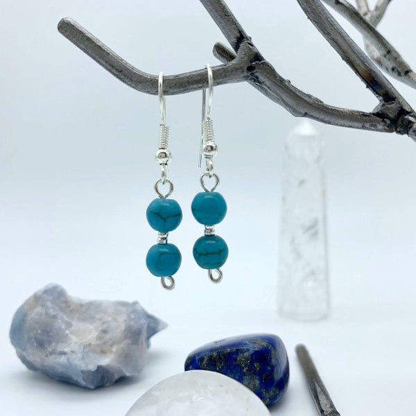 Calming Awareness Turquoise Howlite Gemstone Silver Earrings
