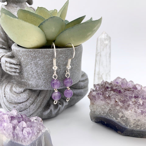 Peaceful Intuition Amethyst Gemstone Silver Earrings