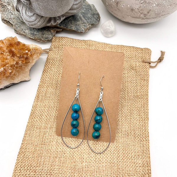 Trusting Kindness Turquoise Gemstone Silver Teardrop Earrings