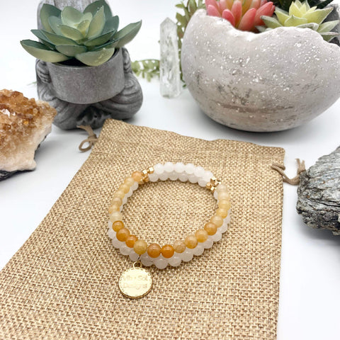 Cleansing Calm Orange Quartzite and White Quartz Gemstone Bracelets
