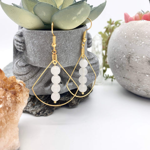 Cleansing Calm White Quartz Gemstone Geometric Gold Earrings