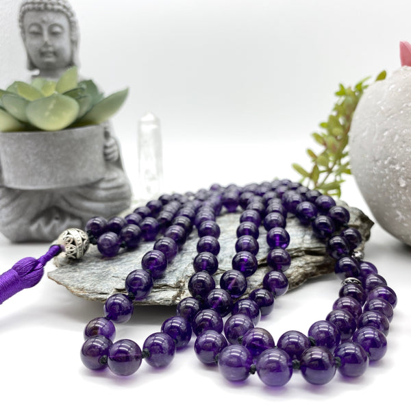 Peaceful Intuition Amethyst Gemstone Mala Necklace