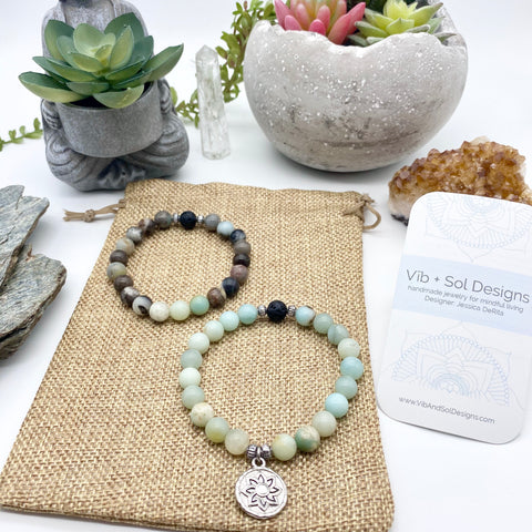 Blue Courageous Self Amazonite Gemstone Diffuser Bracelet handmade by Vīb and Sol Designs