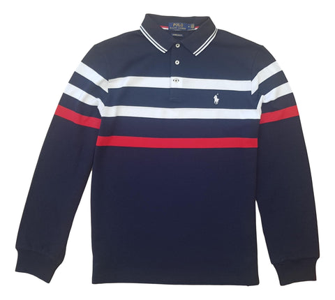 Men's Polo Top Stripe Long Sleeve in Custom Slim Fit Navy Multi