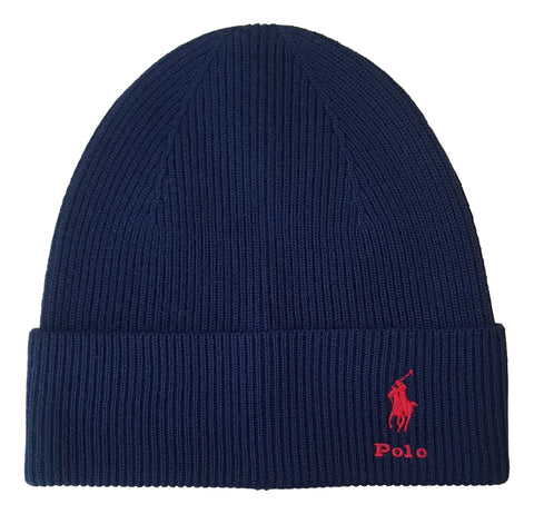 Men's Wool Fold Over Beanie Hat Rib Knit Navy