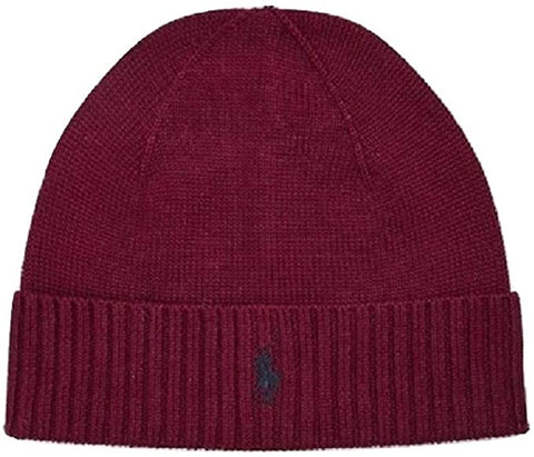 Men's Classic Merino Wool Beanie Hat Burgandy