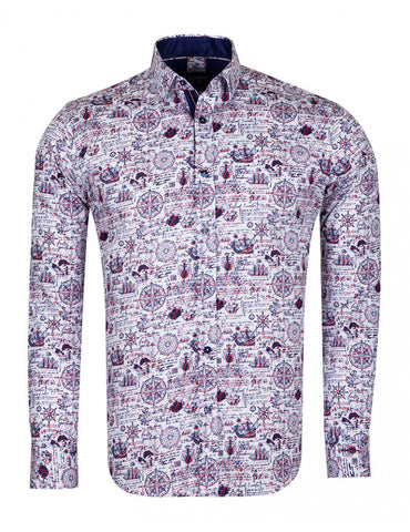 Compass Print Pure Cotton Shirt SL6717