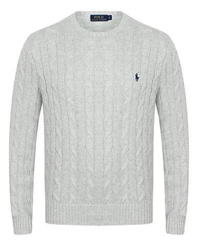 Men's Cable-Knit Cotton Jumper Lt Grey