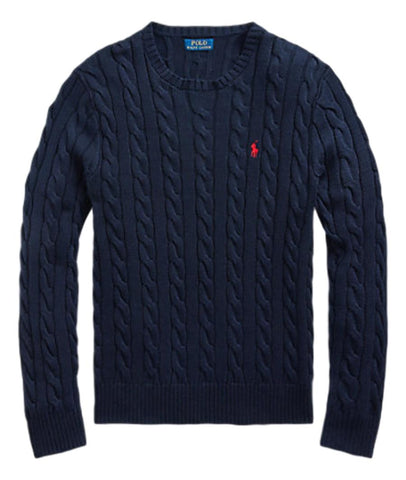 Men's Cable-Knit Cotton Jumper Navy