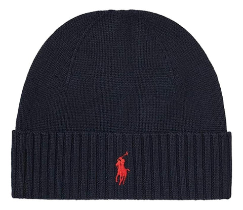 Men's Classic Merino Wool Beanie Hat Navy
