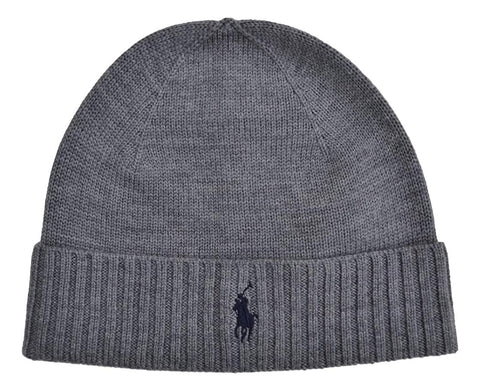 Men's Classic Merino Wool Beanie Hat Grey
