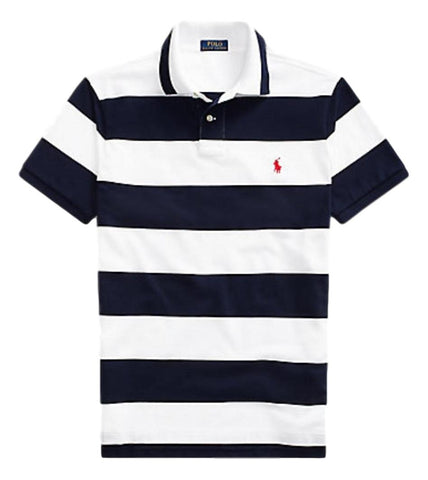 Men's Polo Top Stripe in Custom Slim Fit White/Navy