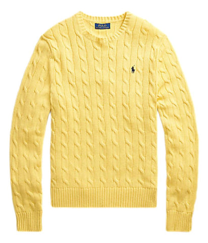 Men's Cable-Knit Cotton Jumper Yellow