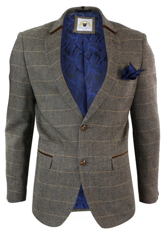 Marc Darcy Ted Tweed Tan Check Blazer