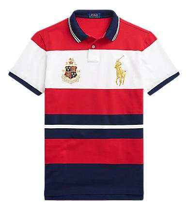 Men's Polo Stripe Top Crest Big Pony in Custom Slim Fit