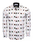 Playing Cards with Clubs, Diamonds Print Cotton Shirt SL6538