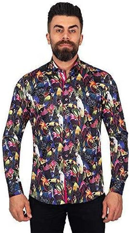 Jungle Tropic Birds Print Cotton Shirt SL6916