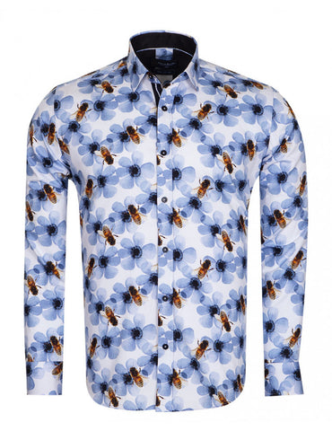 Floral Wasps Print Pure Cotton Shirt