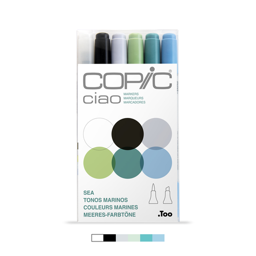 Ciao Dual-Tip Marker Set - Sea (6-pc)