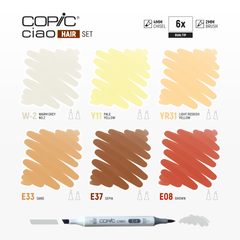 Ciao Dual-Tip Marker Set - Hair (6-pc)
